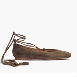 Madewell Brown Ingo Lace-up Suede Flats
